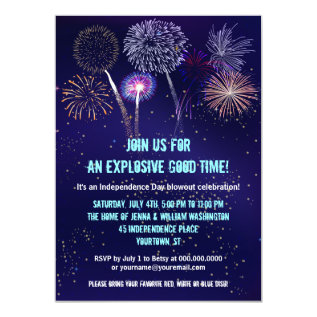 Night Sky Fireworks 4th Of July Party Card at Zazzle