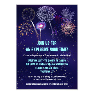 "Night Sky Fireworks 4th of July Party 4.5"" X 6.25"" Invitation Card"