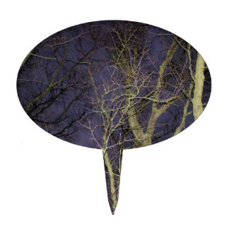 Night sky flash photography branches and trees cake topper