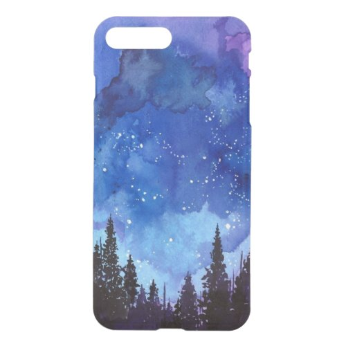 Night Sky forest watercolor Phone Case
