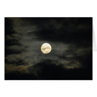 Night Sky - Full Moon and Dark Clouds Greeting Card