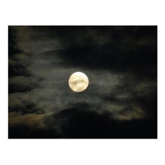 Night Sky - Full Moon and Dark Clouds Postcard
