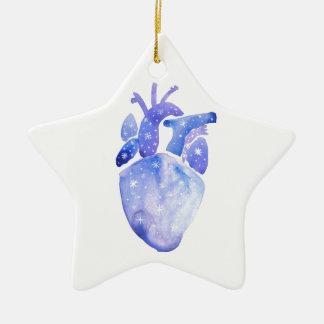 Night Sky Heart Ceramic Ornament