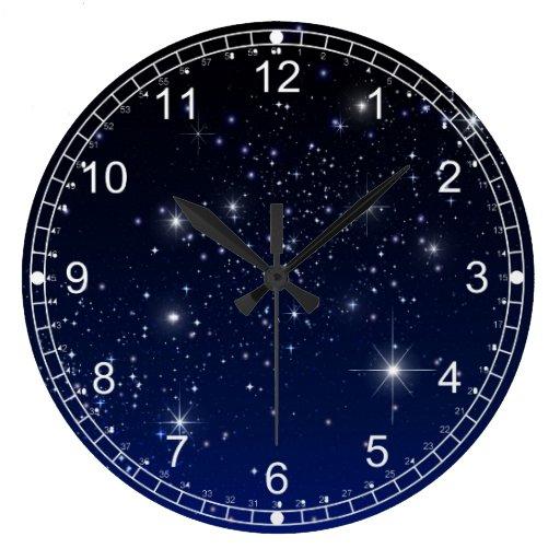 Night Sky Large Clock Zazzle
