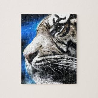 night sky stars white Tiger Jigsaw Puzzle