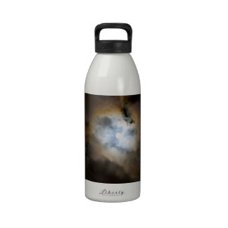 Night Sky with Clouds Moon and Moonbow Reusable Water Bottle