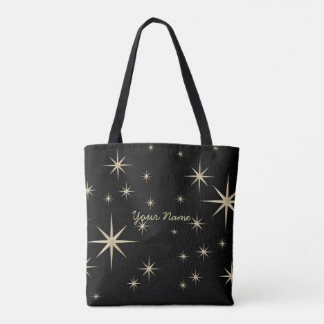 Night sky with golden stars template tote bag