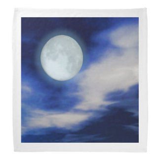 Night Sky with Moon and Clouds Bandana