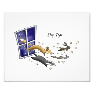 Night Sky woodland animals and stars sleep tight Photo Print