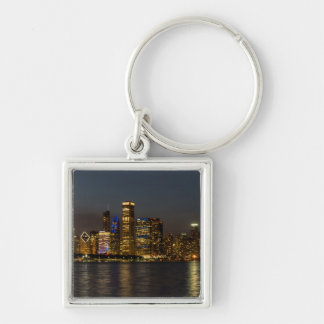 Night Skyline Chicago Pano Keychain