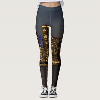 Night Skyline Chicago Pano Leggings