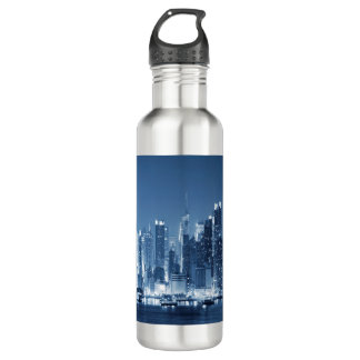 Night Skyline new-York City Manhattan Water Bottle