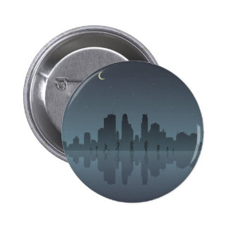 Night Skyline & Silhouettes Button