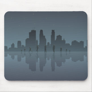 Night Skyline & Silhouettes Mouse Pad