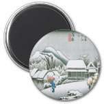 Night Snow at Kambara, Japan circa 1831-1834 Refrigerator Magnet