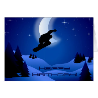 Night Snowboarding Mountain Moon Happy Birthday Card
