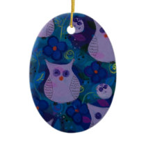 Night Song with Owls, Blue Ceramic Ornament