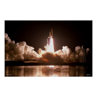 Night Space Shuttle Launch Poster