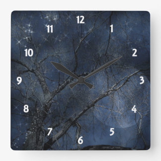 Night Sparkles 7 Square Wall Clock