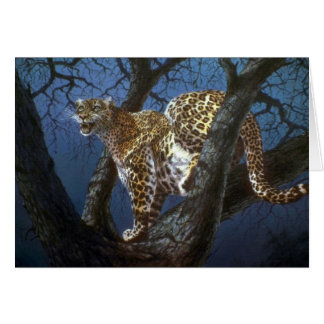 Night stalker, Leopard Greeting Cards