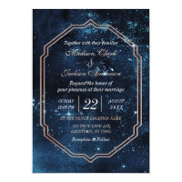 Night Star Sky Celestial Galaxy Wedding Invitation