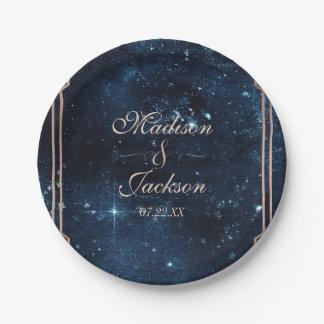Night Star Sky Celestial Galaxy Wedding Monogram Paper Plate