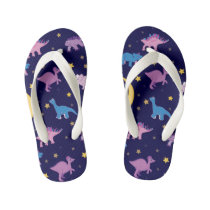 Night Stars and Dinosaurs Pattern Kid's Flip Flops