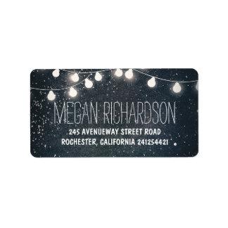Night Stars and String Lights Wedding Address Label