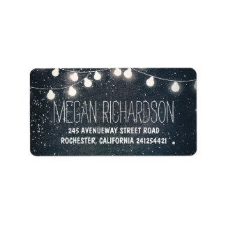Night Stars and String Lights Wedding Label