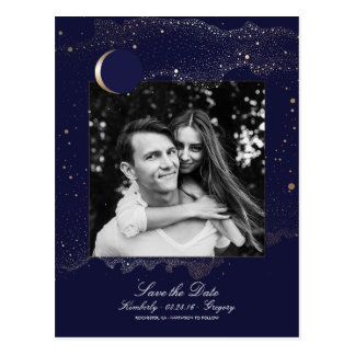 Night Stars Navy and Gold Photo Save the Date Postcard