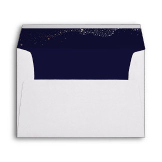 Night Stars Navy Blue Wedding Envelope