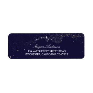 Night Stars Navy Wedding Label