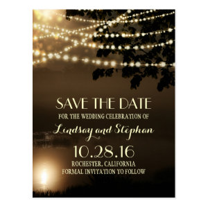 night string lights elegant save the date postcard