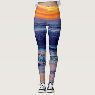 Night Sunset Beach Leggings or Add Your Image