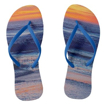 Beach Themed Night Sunset Beach Sandals or Your Photo Flip Flops