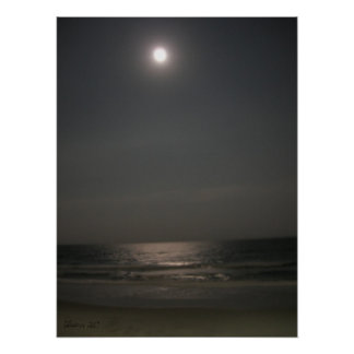 Night time at the Beach Poster