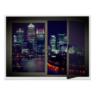 Night Time City View Fake Window Poster