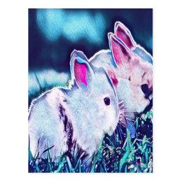 Night Time Dwarf Bunnies Postcard