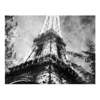 Night time Eiffel Tower, Black and White Postcard