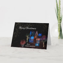 Night Time Homes Christmas Scene Custom Typography Card