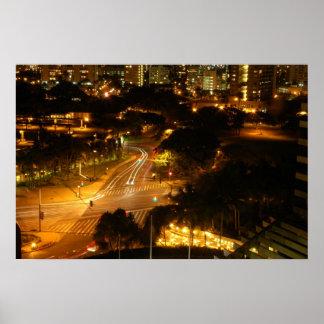 Night time in Honolulu Poster