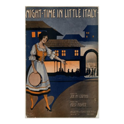 Night-Time in Little Italy Print