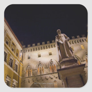 Night time in Piazza Salimbeni, Siena, Italy. Square Sticker