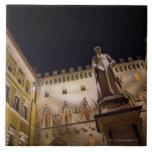 Night time in Piazza Salimbeni, Siena, Italy. Large Square Tile