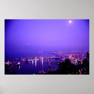 Night time, Malaga, Spain Poster