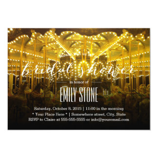 Night Time Merry Go Round Bridal Shower 5x7 Paper Invitation Card
