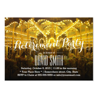 Night Time Merry Go Round Retirement Party 5x7 Paper Invitation Card