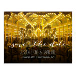 Night Time Merry Go Round Wedding Save the Date Postcard