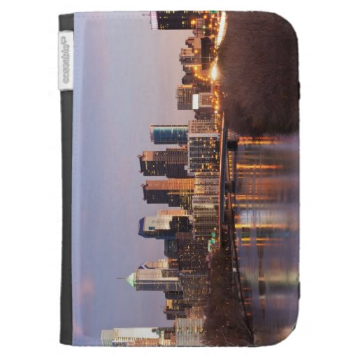 Night time panoramic view at Philadelphia Kindle 3 Covers