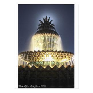 Night Time Pineapple Fountain Postcard